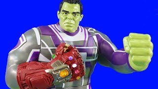 Marvel Avengers Endgame Power Punch Hulk + Hulk Smash Vs Thanos Family ! Superhero Toys