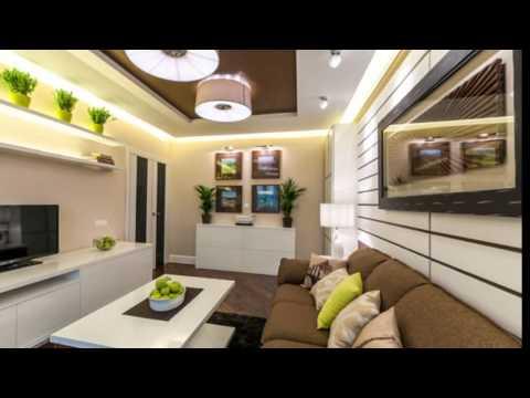 Интерьер гостиной в коричнево-бежевых тонах 20 кв. м