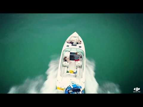 Mavic drone offshore distant high speed boat chase Milwaukee