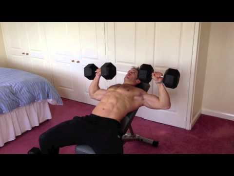 Home chest session with dumbbells and bench