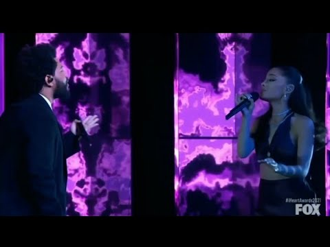 The Weeknd and Ariana Grande Save your tears live performance at iHeart radio music award