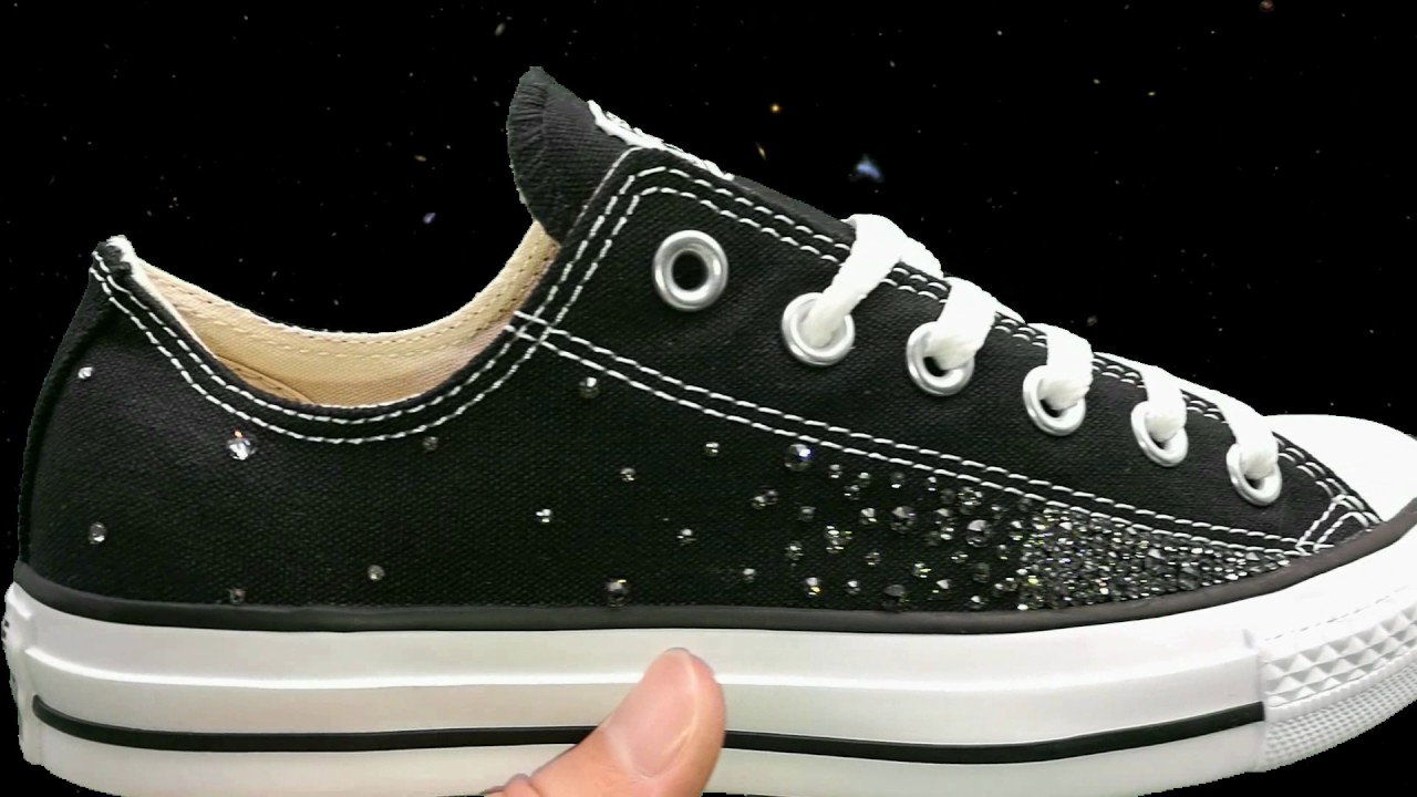 a56519bc9392 Converse Swarovski Galaxy Black - Double G Customs - Custom Sneakers -  Chaussures personnalisées