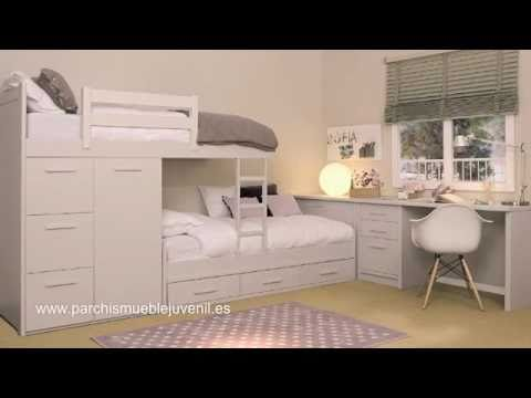 Habitaciones Juveniles En Madera Macizadormitorios Juveniles Para - Camas-dobles-infantiles-para-espacios-reducidos