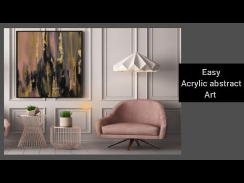 -Easy acrylic Abstract gold leaf painting using 4 colors!! Modern art |gold leaf painting