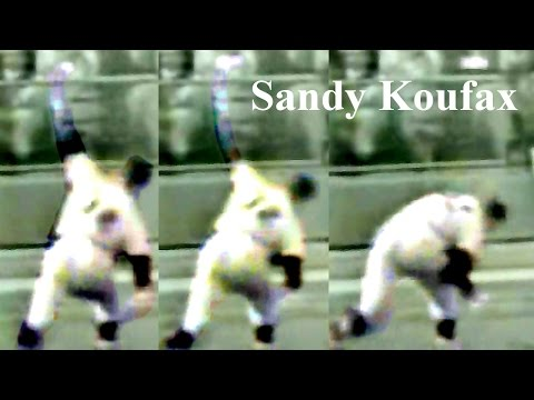 """Sandy Koufax form """"throwing motion pauses a moment before release"""" Pitching Mechanics Slow Motion"""