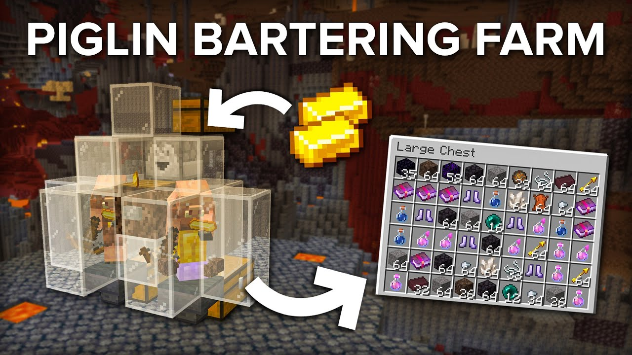 Minecraft Easy and Powerful Piglin Bartering/Trading Farm