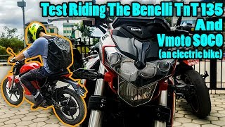 test riding the benelli tnt 135 and vmoto soco electric bike not a review motovlog nepal