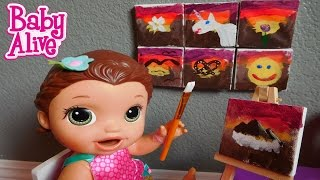 baby alive goes to art class and paints a sunset