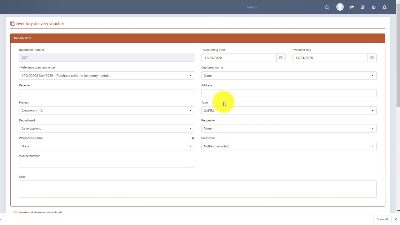 Perfex CRM Modules - Inventory Management - Inventory delivery create from purchase order Null