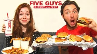 Dégustation FIVE GUYS en COUPLE ! 7 BURGERS TOP ! FRITE AU PIMENT ET MILK SHAKE !!