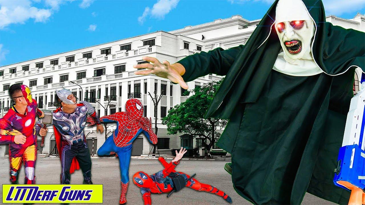 LTT Nerf Guns: Spiderman X-Shot Nerf Guns Fight Against Criminal Group  Giant Valak Attack