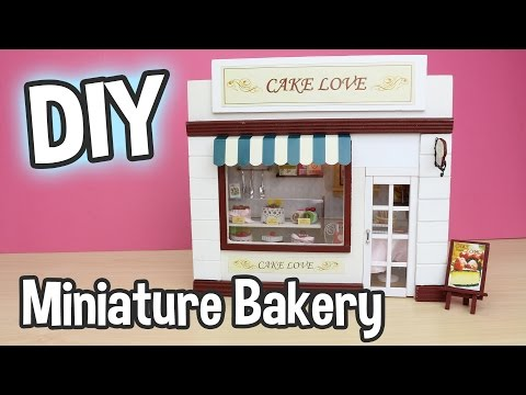 DIY Miniature Bakery Dollhouse Kit Cake Love Cute Shop with Working Lights!/ Relaxing Crafts