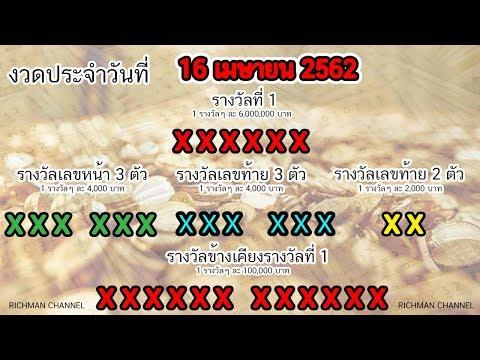 ผลหวยวันนี้ รางวัลสลากกินแบ่งรัฐบาล งวดประจำวันที่ 16 เมษายน 2562 เลขที่ออก