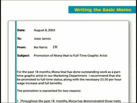 The Key Forms Of Business Writing Basic Memo  Youtube