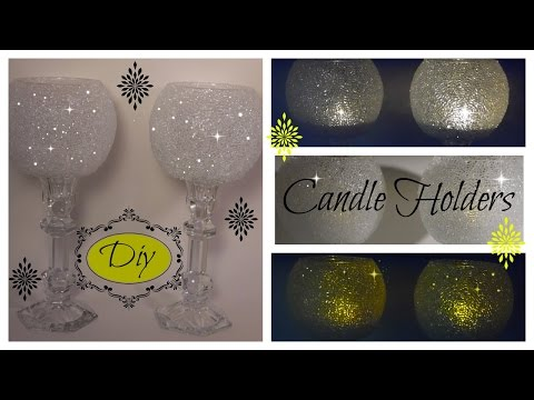 BLING DIY -   THE ORIGINAL FROSTY BLING CANDLE HOLDER - WEDDINGS - DOLLAR TREE/GOODWILL/MICHAELS