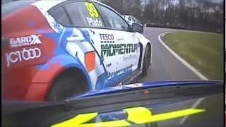 BTCC 2013 Brands Hatch (Race1) - Gordon Shedden fantastic save & Jason Plato crash