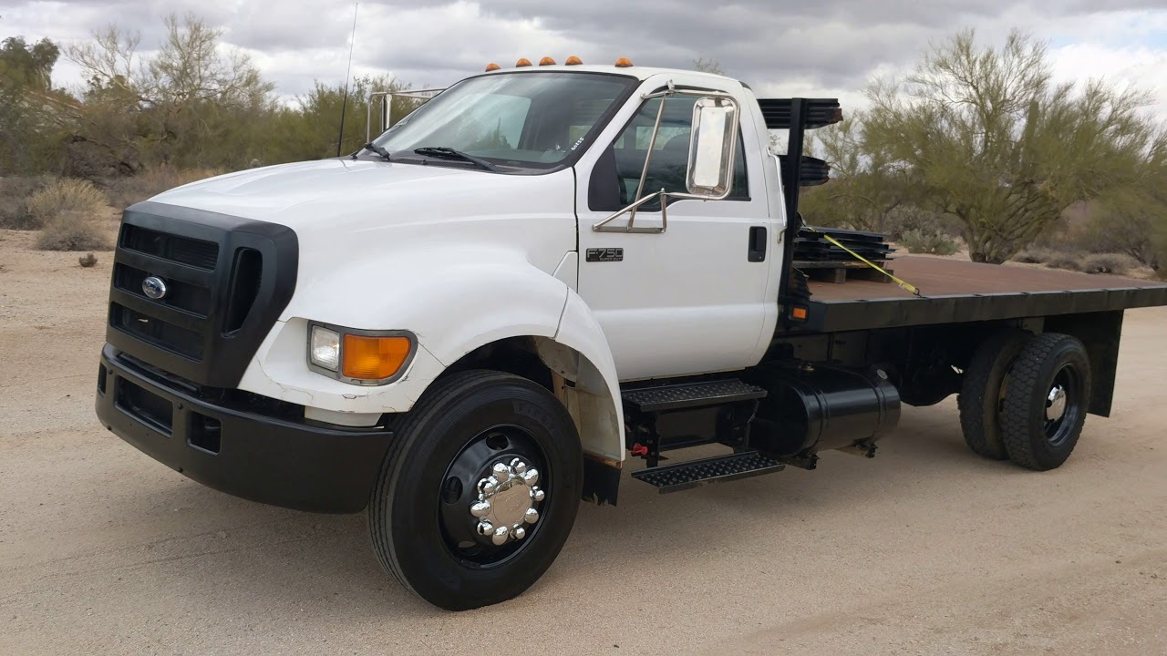2005 ford f 650 video 16 flatbed 56k miles automatic flatbed international f750 [ 1280 x 720 Pixel ]