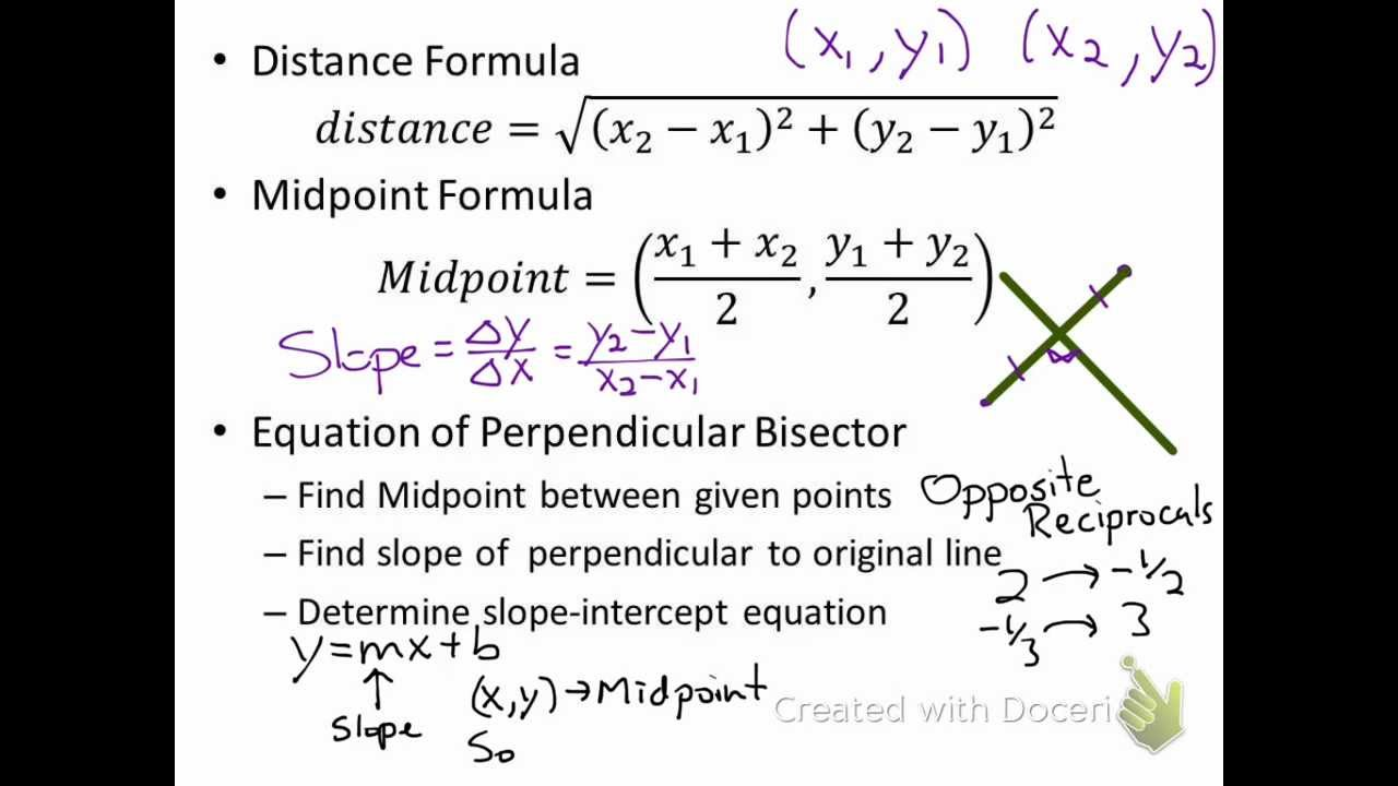 Apply the Distance and Midpoint Formulas (Algebra 2 Sec 9.1) - YouTube