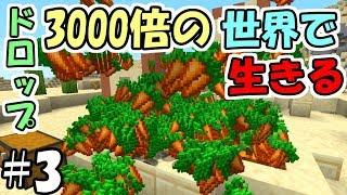 【マインクラフト】#3 ドロップが3000倍の世界で生きる ~ニンジン3000倍~【マイクラ実況】