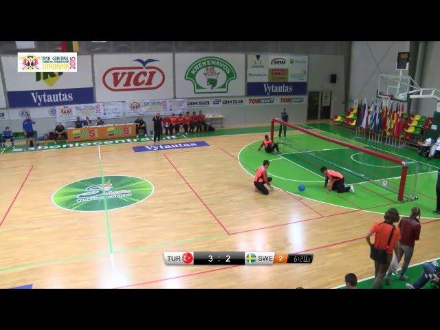 43 Turkey   Sweden B2 A3 Men 2015 IBSA Goalball European Championships Lithuania
