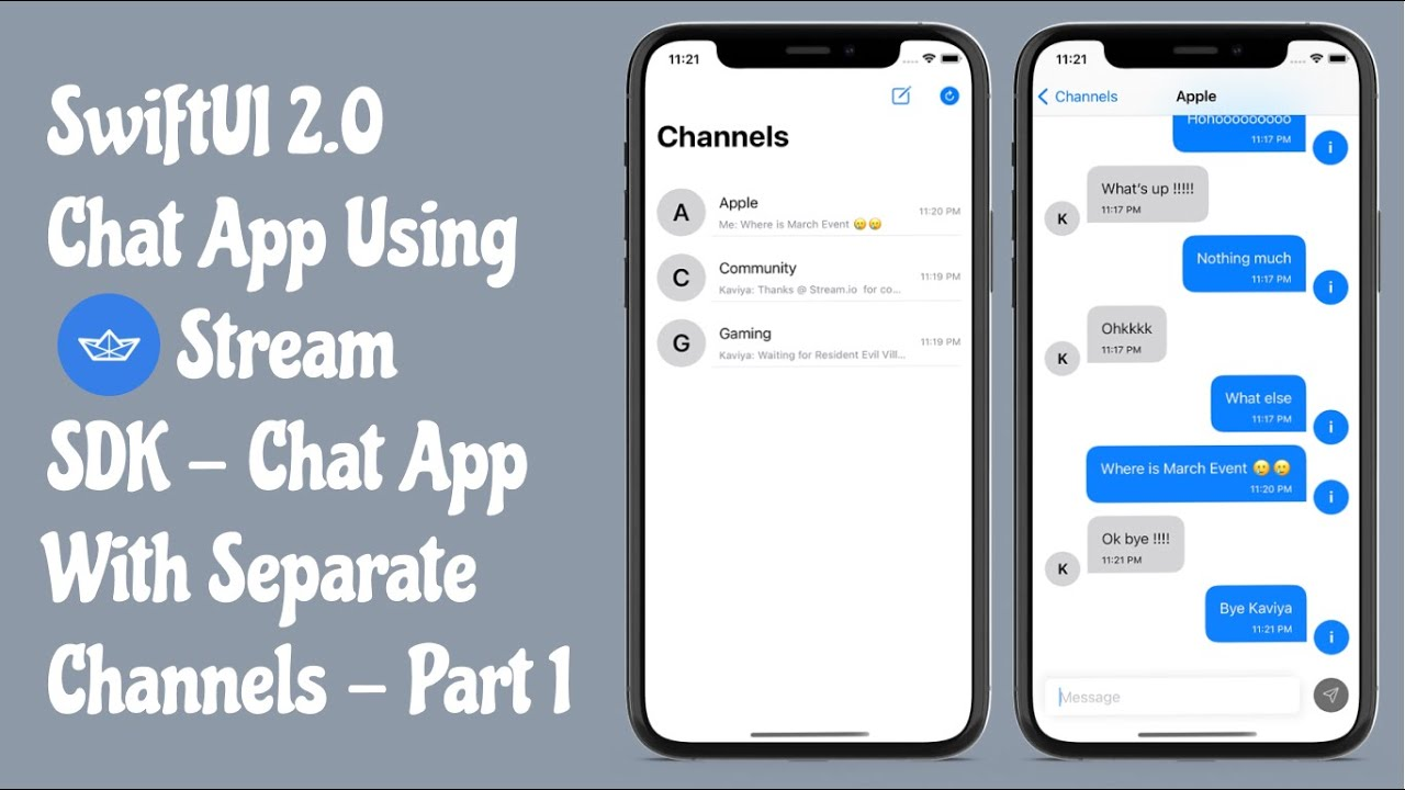 SwiftUI 2.0 Chat App Using Stream.io SDK - Chat App With Individual Channels
