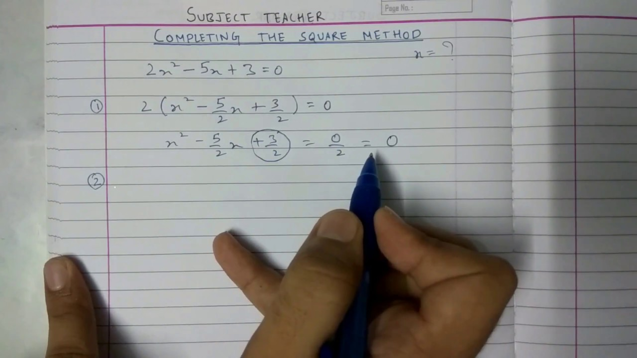 method for completing the square pdf