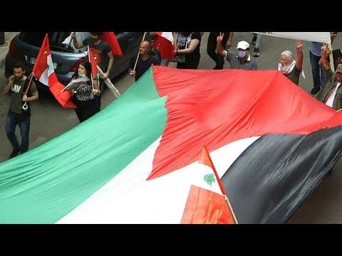 شاهد: مسيرة لبنانية في بيروت تضامناً مع الفلسطينيين