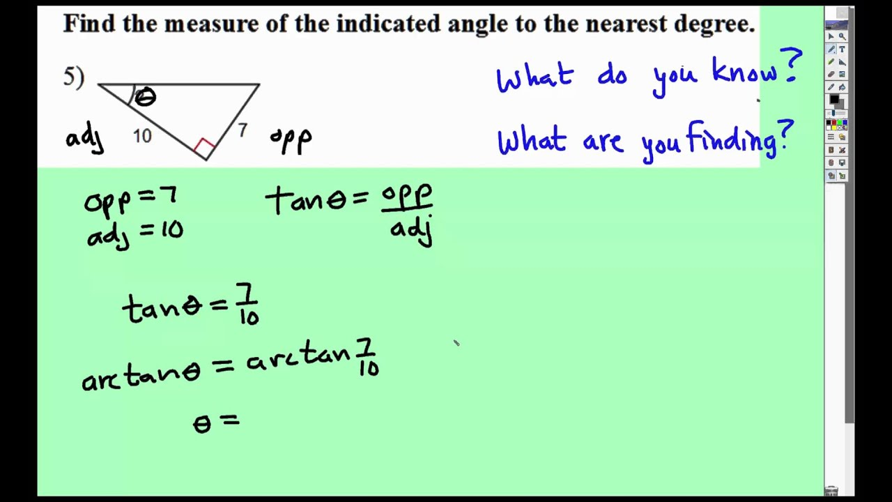 Find Angle Measure Given Sides Using Trig Function