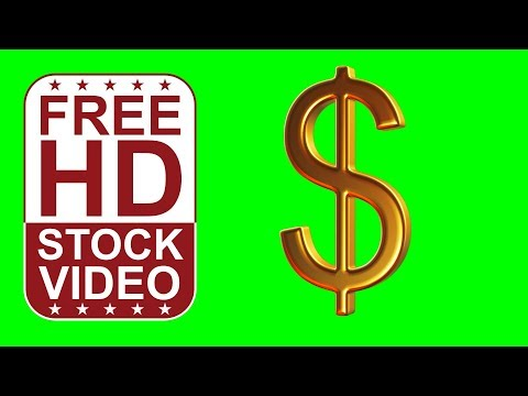 FREE HD video backgrounds –gold dollar seamless loop 360 degrees rotation 3D animation