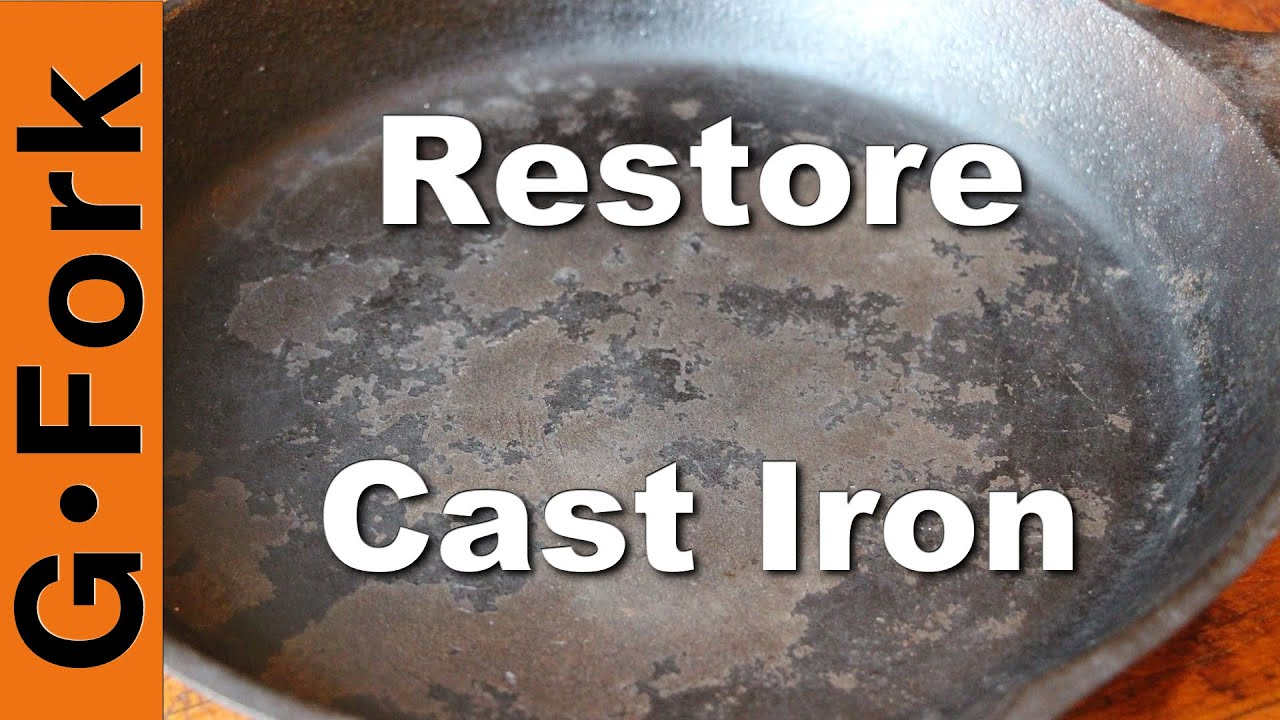 restore cast iron skillet with oven cleaner gardenfork youtube. Black Bedroom Furniture Sets. Home Design Ideas