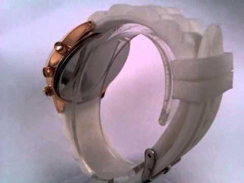 Dámske náramkové hodinky Geneva White Gold - YouTube 11d9f6049c