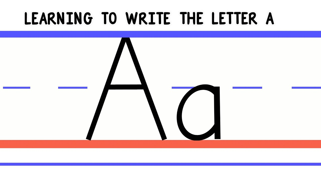 Worksheets Abc Writing write the letter a abc writing for kids alphabet handwriting by 123abctv