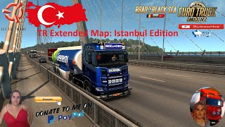 Euro Truck Simulator 2 (1.39)   TR Extended Map: Istanbul Edition Release by Bona First Look Road to the Black Sea DLC by SCS Geelhoed Scania S450 by OveRTRucK Schwarzmuller Cistern Ownable Trailer Promods map v2.51 Animated gates in companies v3.7 [Schumi] Real Company Logo v1.0 [Schumi] Company addon v1.8 [Schumi] Trailers and Cargo Pack by Jazzycat Motorcycle Traffic Pack by Jazzycat FMOD ON and Open Windows Naturalux Graphics and Weather Spring Graphics/Weather v3.6 (1.38) by Grimes Test Gameplay ITA Europe Reskin v1.0 + DLC's & Mods TR Extended Map Mod Istanbul Edition will have the following main features and contents for drivers to explore: ? Over 1000 kilometers of roads to drive on ? Many new models ? More than 500 new traffic signs ? More companies in Istanbul to work for ? Rebuilt intersections ? Northern Marmara Motorway ? Yavuz Sultan Selim Bridge ? Villages on the Anatolian and European sides ? New motorway service areas. ? Istanbul Airport ? Ambarl? Port ? New districts ? Tuyap Building and TV tower ? New motorway tunnels ? Ambarl?-Trieste ferry connection (for Promods users) https://trextendedmap.com/eng/  For Donation and Support my Channel https://paypal.me/isabellavanelli?loc...  SCS Software News Iberian Peninsula Spain and Portugal Map DLC Planner...2020 https://www.youtube.com/watch?v=NtKeP... Euro Truck Simulator 2 Iveco S-Way 2020 https://www.youtube.com/watch?v=980Xd... Euro Truck Simulator 2 MAN TGX 2020 v0.5 by HBB Store https://www.youtube.com/watch?v=HTd79...  All my mods I use in the video Promods map v2.51 https://www.promods.net/setup.php Traffic mods by Jazzycat https://sharemods.com/hh8z6h9ym82b/pa... https://sharemods.com/lpqs4mjuw3h6/ai... https://ets2.lt/en/painted-bdf-traffi... https://sharemods.com/eehcavh87tz9/bu... Graphics mods https://download.nlmod.net/ https://grimesmods.wordpress.com/2017... Europe Reskin https://forum.scssoft.com/viewtopic.p... Trailers pack https://ets2.lt/en/trailers-and-cargo... https://tzexpress.cz/