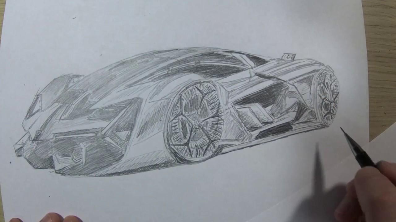 How To Draw The Lamborghini Terzo Millennio In 60 Seconds Youtube