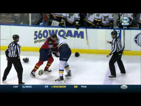 Ryan Reaves vs Shawn Thorton fight. St. Louis Blues vs Florida Panthers Feb 15 2015 NHL
