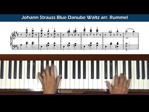 Strauss Blue Danube Waltz arr. Rummel Piano Tutorial