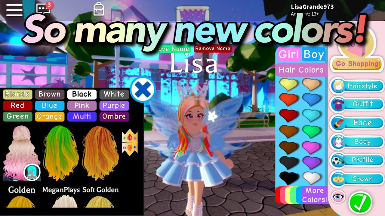 buying all the multiple hair colors    roblox royale high