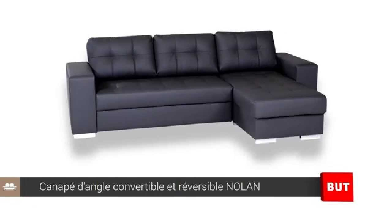 Canape d 39 angle convertible et r versible nolan but youtube for Canape d angle reversible