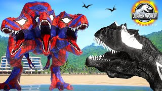 Spiderman T-Rex Vs Black Spiderman Godzilla, Venom Dinosaurs Fight - Jurassic World Evolution