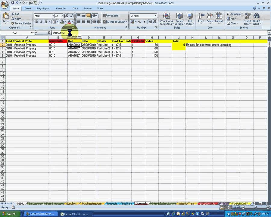 Sage 50 : How to import data directly from Excel to Sage 50 using ...
