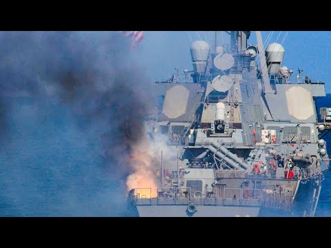 Navy Destroyer Test-Fires All Its Guns