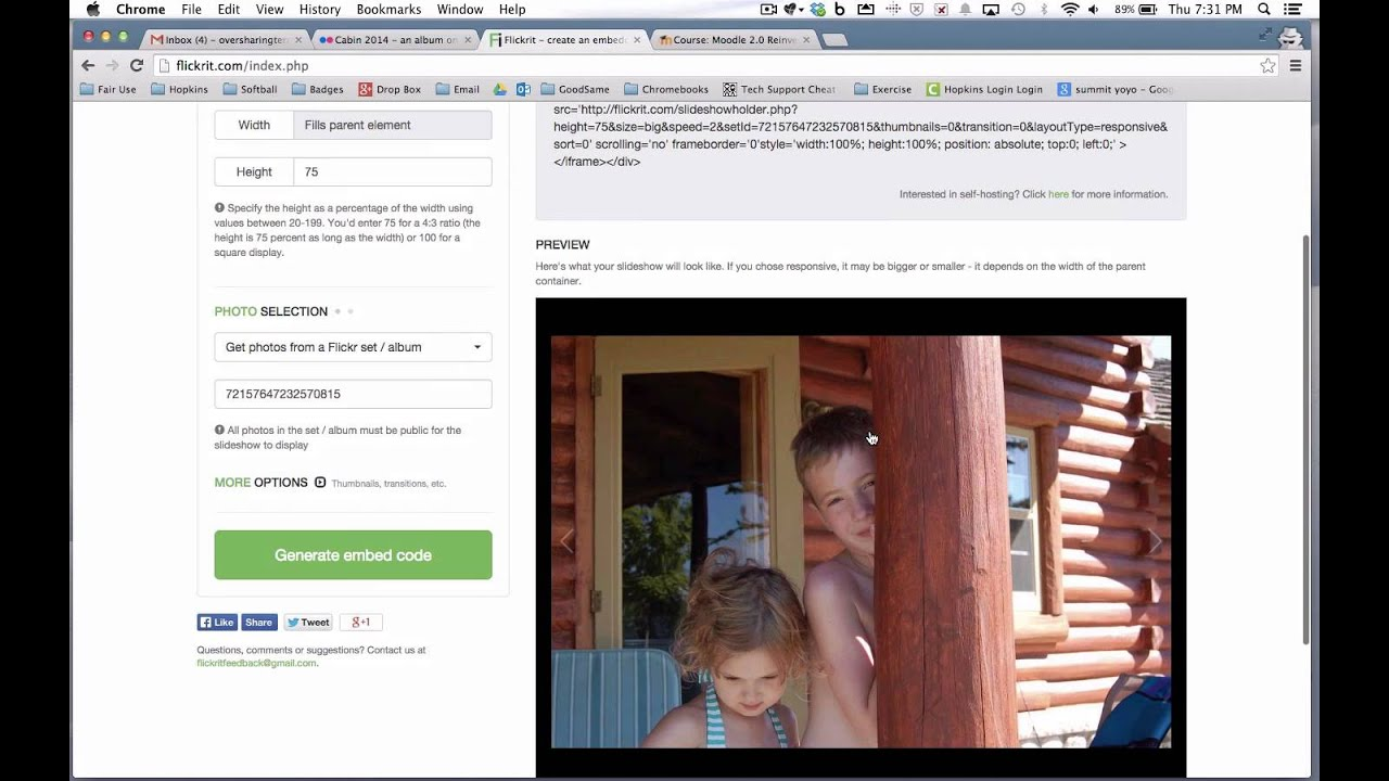 Embedding Flickr Albums On Your Moodle Site