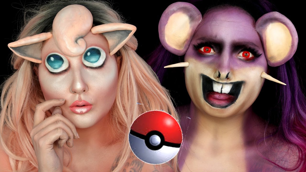 Pokemon Jigglypuff & Rattata Halloween Makeup Tutorial - YouTube