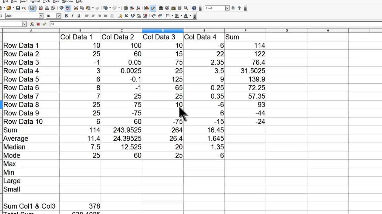 OpenOffice Calc 4 Tutorial 6 - Average Median Mode Min Max Large Small  Functions Spreadsheet