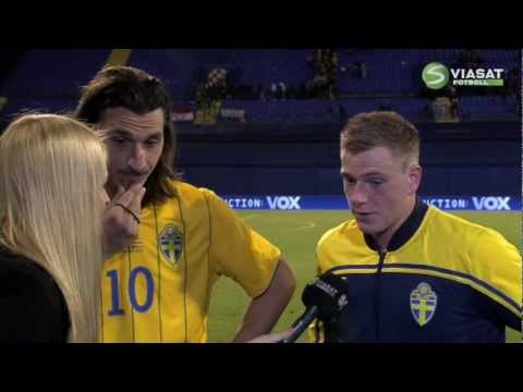 Zlatan Ibrahimovic and John Guidetti Interview after Croatia vs Sweden (2012.02.29)