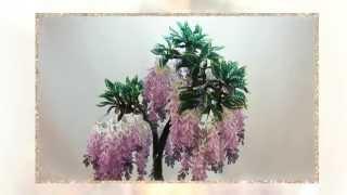 Цветы из бисера  Глициния(Канзаши и бисероплетение! Сделай элегантные, лаконичные, необыкновенной красоты цветы своими руками! Цветы..., 2014-03-28T13:58:53.000Z)