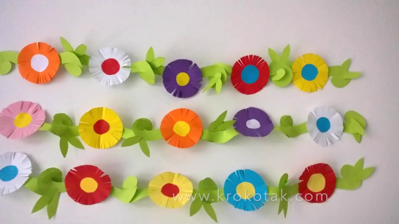 Paper flower garland youtube paper flower garland mightylinksfo