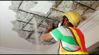 Removing Spalling Concrete Ceiling For Repair Work