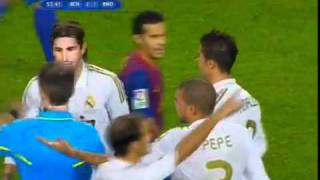 Marcelo push Leo Messi Barcelona vs Real Madrid 3-2 Spanish Super Cup 18/08/2011