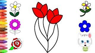 Pagina di colorazione fiori   Come disegnare e colora per i bambini